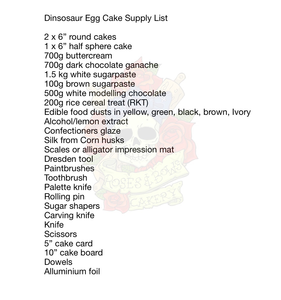Dinosaur Egg Cake Supply List