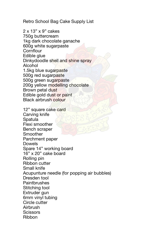 Retro Schoolbag Cake Supply List