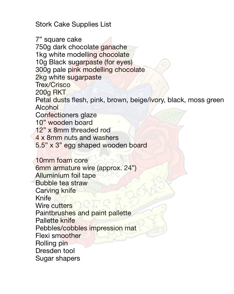 Realistic Stork Cake Supply List