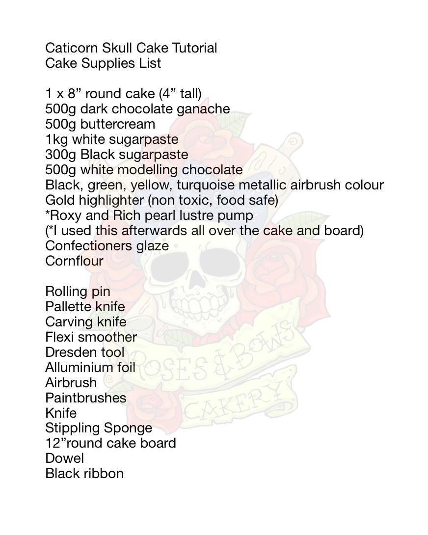 Caticorn Skull Cake Supply List