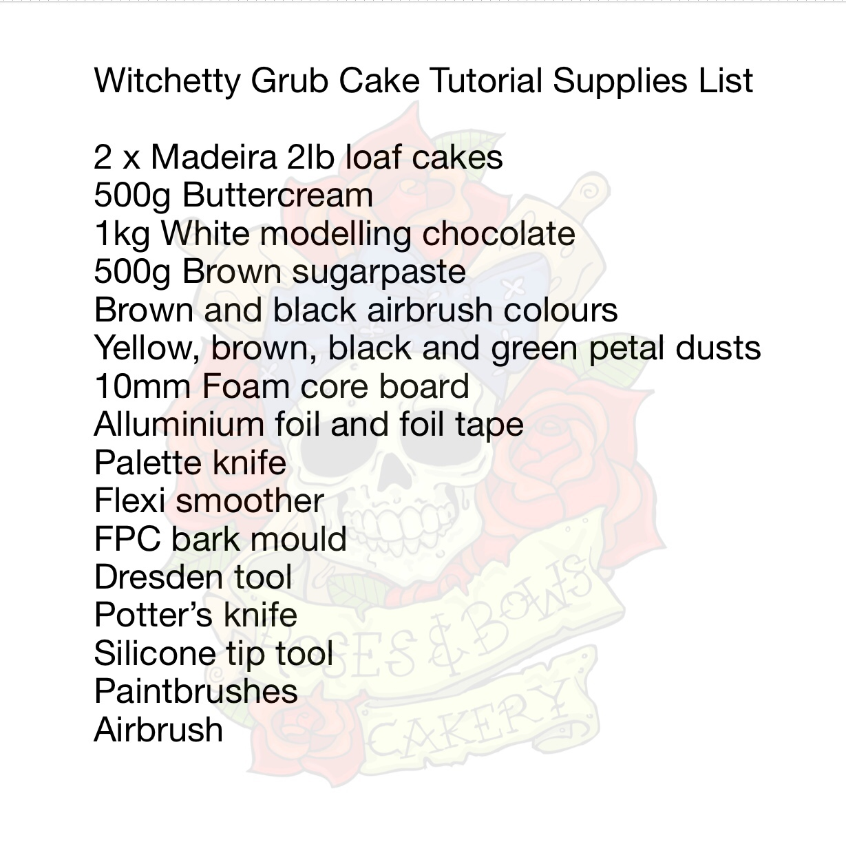 Witchetty Grub Supply List