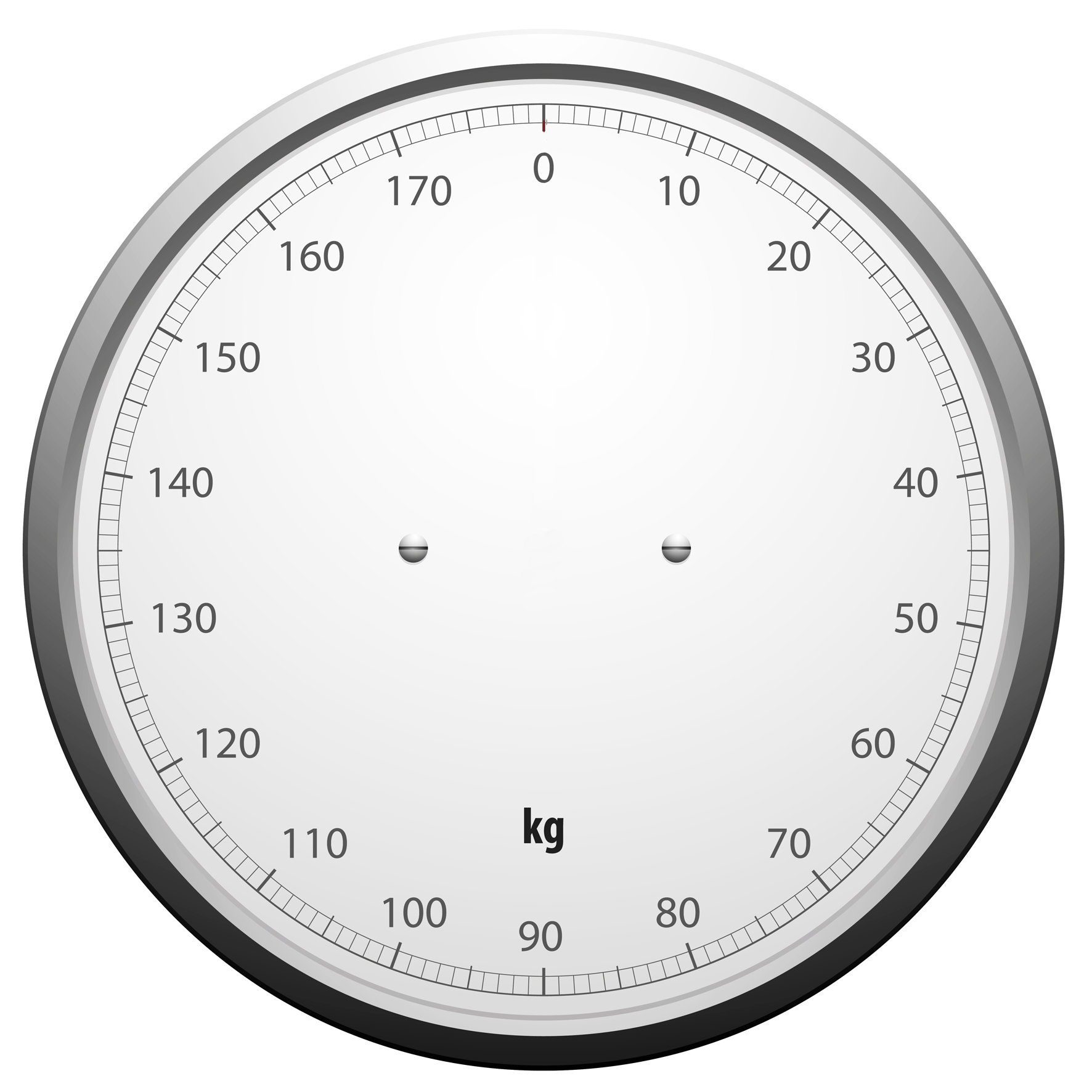 Weighing scales clock face