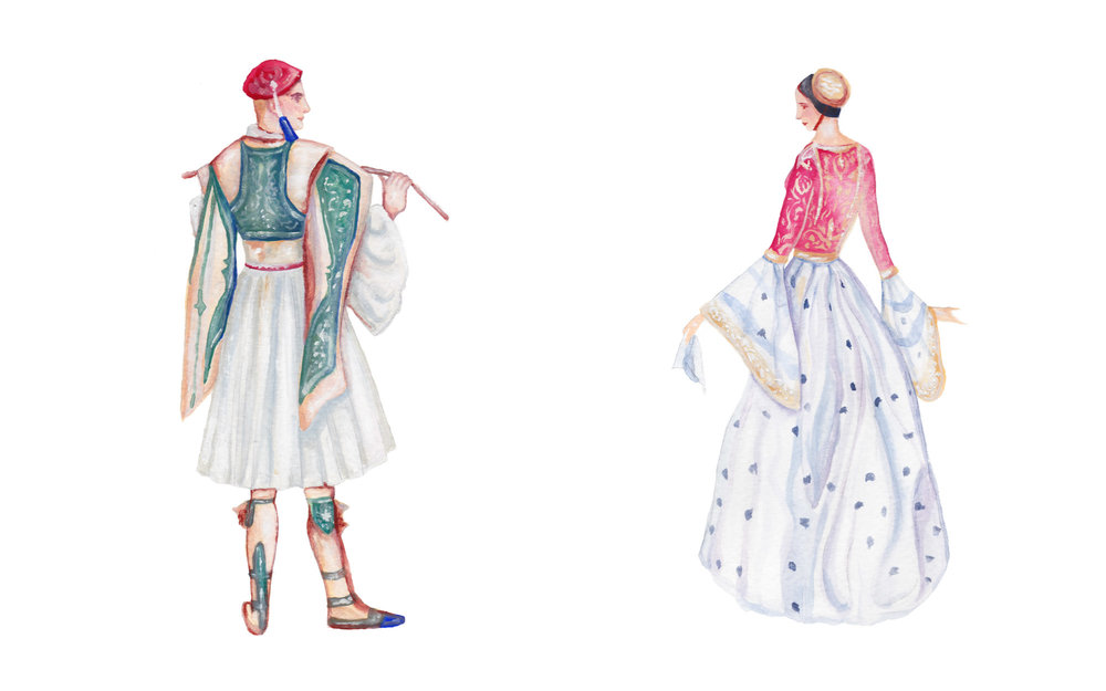 "Authentic Greek Costumes from the 1800s Gouache Illustrations, 9x12"" each April 2017"