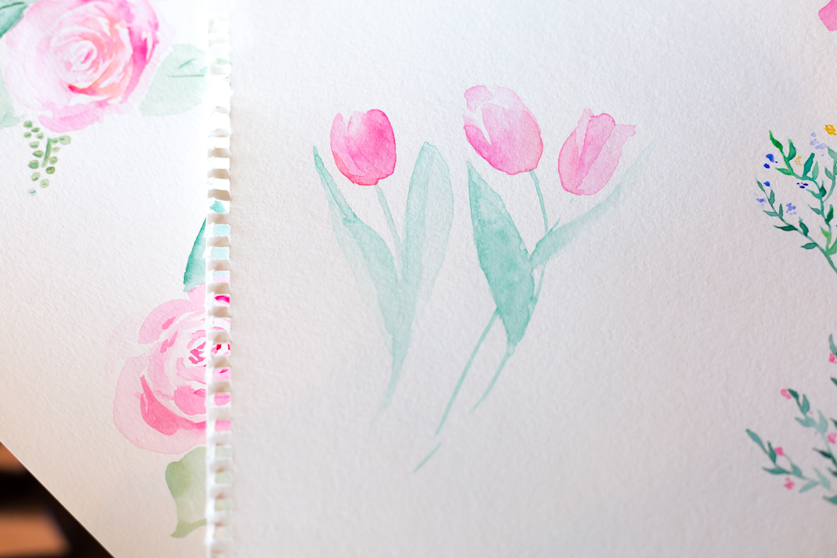 "Tulips and Roses for Spring Watercolor, 9x12"" April 2018"