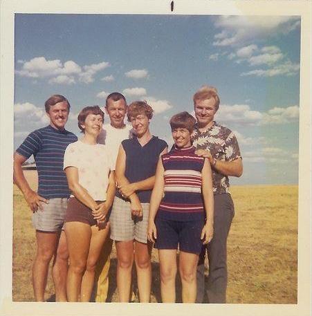 "the Gleasons: Dr. Warren Preston, Virginia June, Clifford Carol, Mary Alta, Doris Irene, (my mother) and ""Whitey"" Jewel Monroe ~1970 Aug Cheney Reservoir Family reunion at Cheney Reservoir in Kansas"