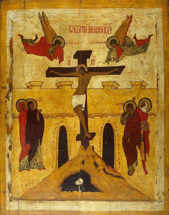 Icon of the Crucifixion, Stroganov School Arkangelsk Late 16thcent.jpg