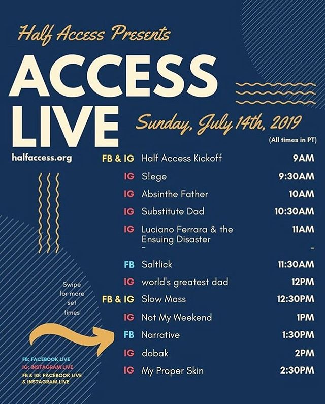 We are so excited to participate in a live stream festival for @halfaccess this coming Sunday! Head over to our Instagram at 2:30pm to see us play live in our home space ✨ also, check out all these other rad artists!  #livestream #halfaccess #inclusion #nonprofit #indierock #dreampop #shoegaze #indie #rockmusic