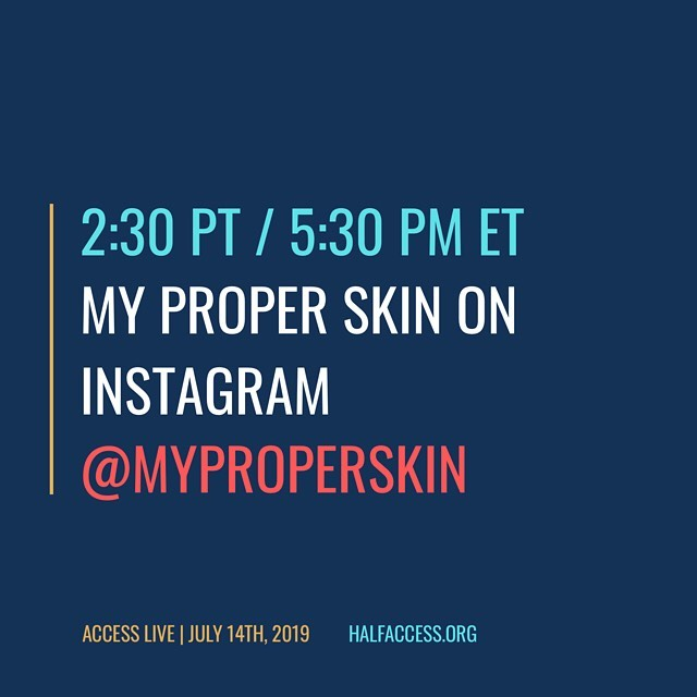We're playing live, direct from @myproperskin HQ, TODAY at 2:30p PT/5:30p ET for @halfaccess's Access Live 2019! Watch for it on our Instagram feed. #livemusic #accessibility #makelivemusicaccessible #accesslive2019