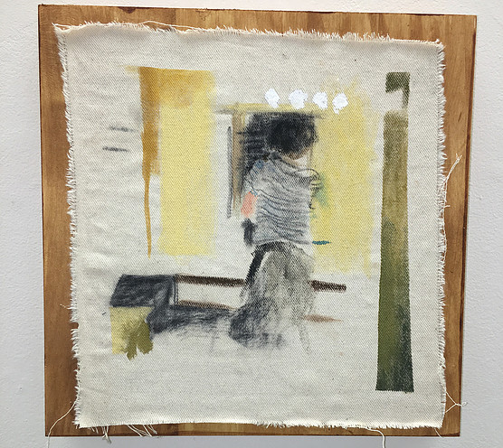"She Didn't See Me in the Bathroom Mirror , acrylic and charcoal painted on raw canvas, pasted on stained panel, 16"" x 16"""