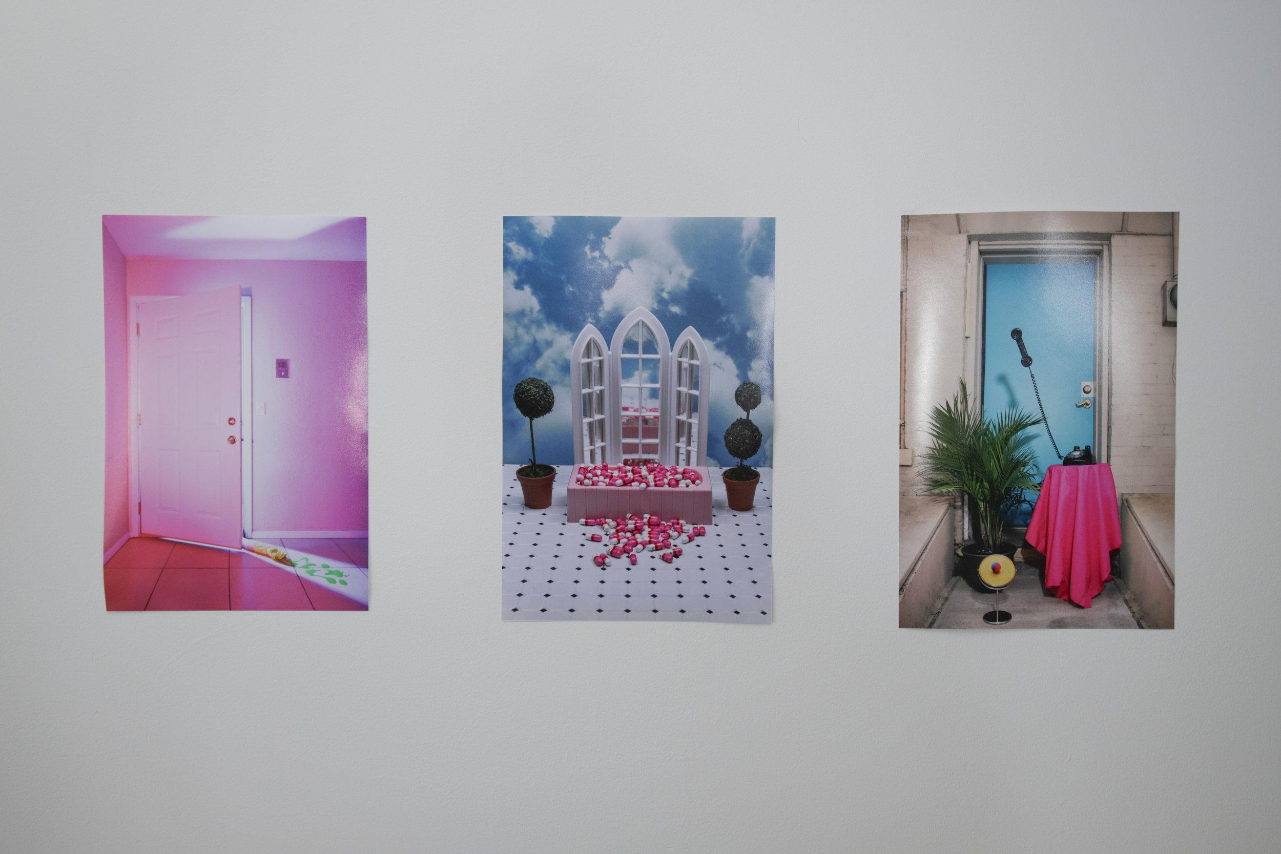 Untitled 1 , 2017, digital photography (left), Window Pain , 2017, digital photography (middle), CMYK , 2016, digital photography (right).Image courtesy of Shea Grehan.