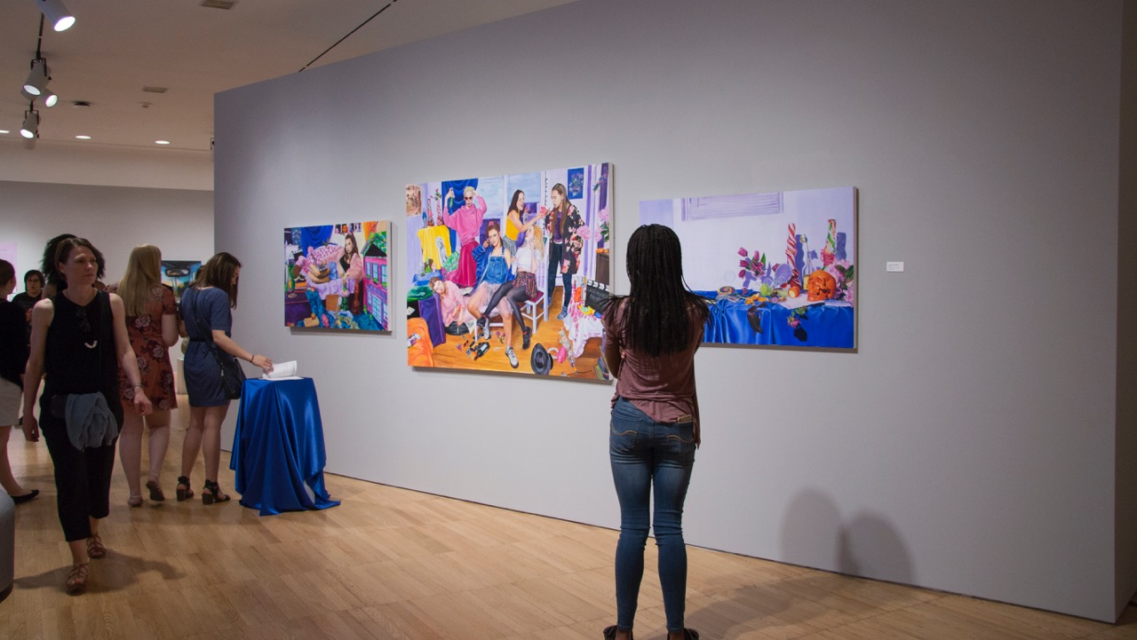 Installation view of Veronica Clements's paintings.