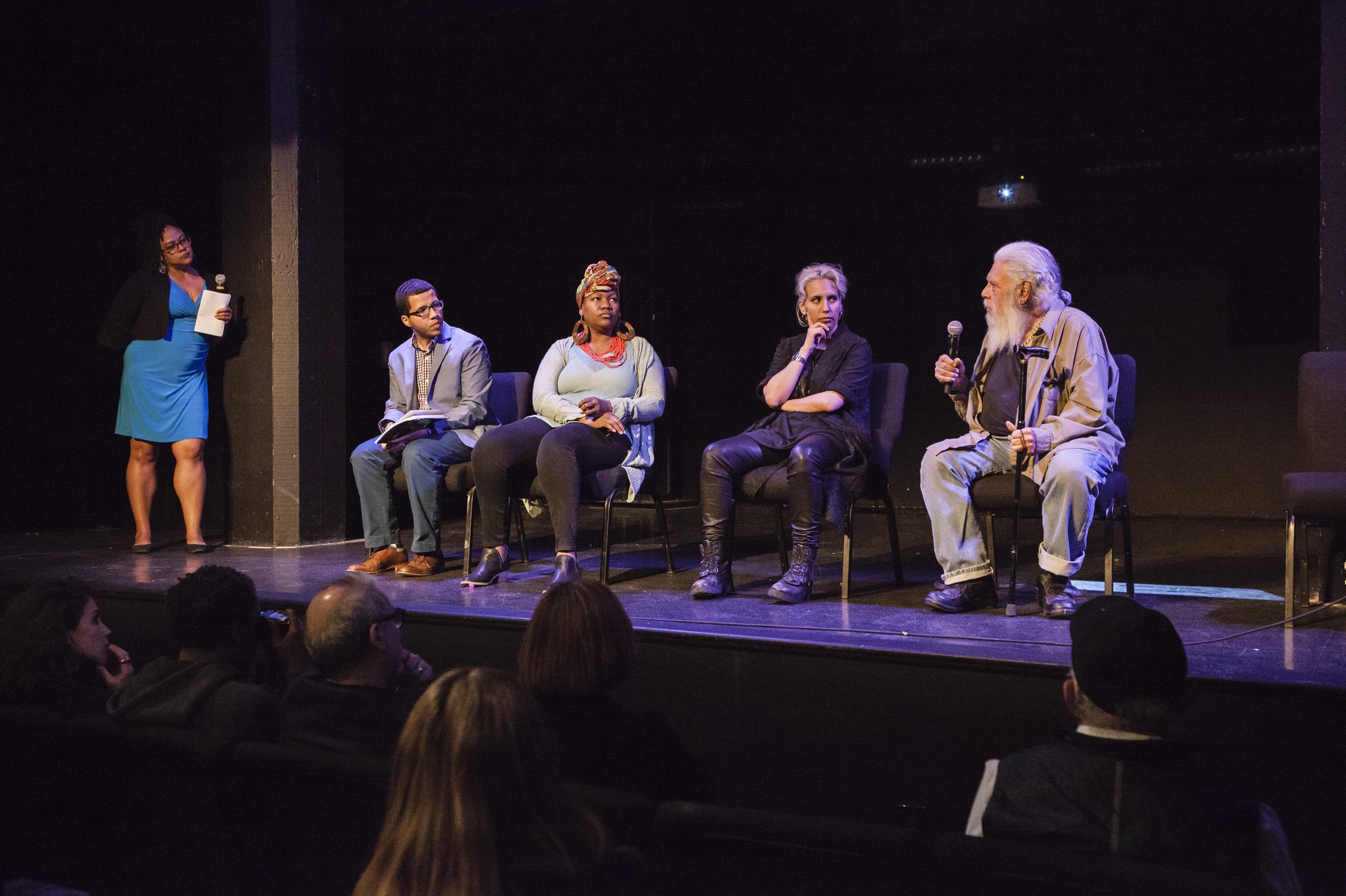 "Group conversation during ""The Autumnal City: Conversations with Samuel R. Delany,"" presented as a part of Dwell In Other Futures: Art / Urbanism / Midwest. .ZACK, St. Louis. April 27, 2018. From left to right: Rebecca Wanzo, Terrance Wooten, Treasure Shields Redmond, Sophia Al-Maria, Samuel R. Delany. Photo by David Johnson"