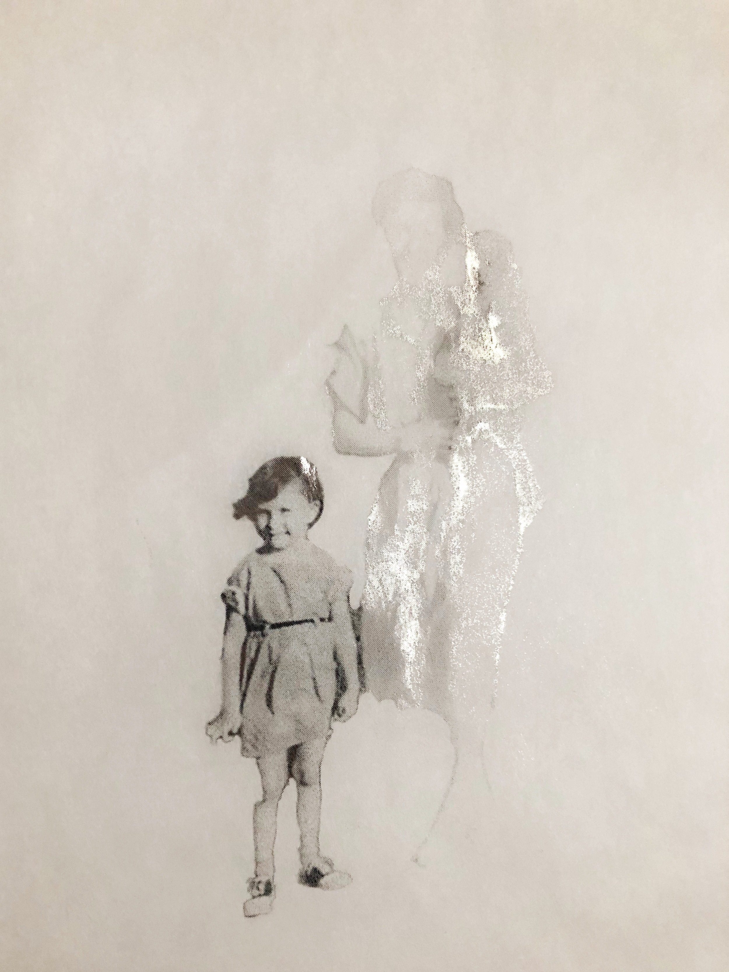 Suddenly , 2018, laser print on tracing paper, heat reactive foil. Image courtesy of the artist.