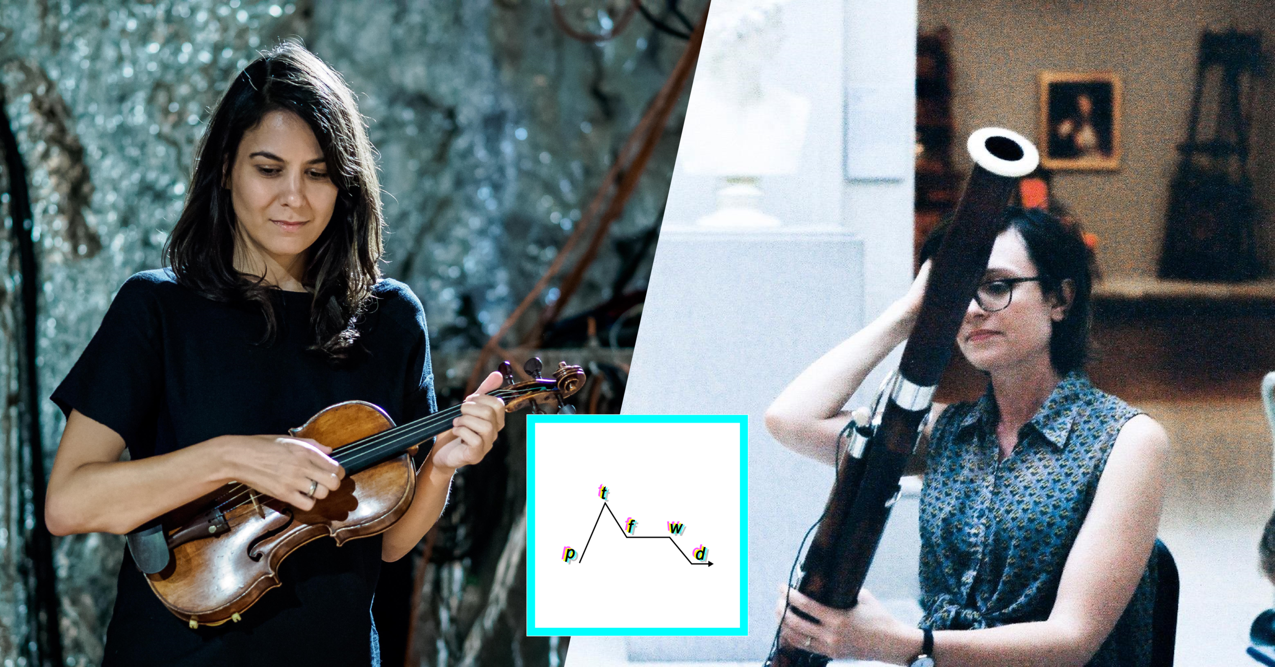 Left: Erica Dicker performing on violin. Right: Katherine Young performing on bassoon.