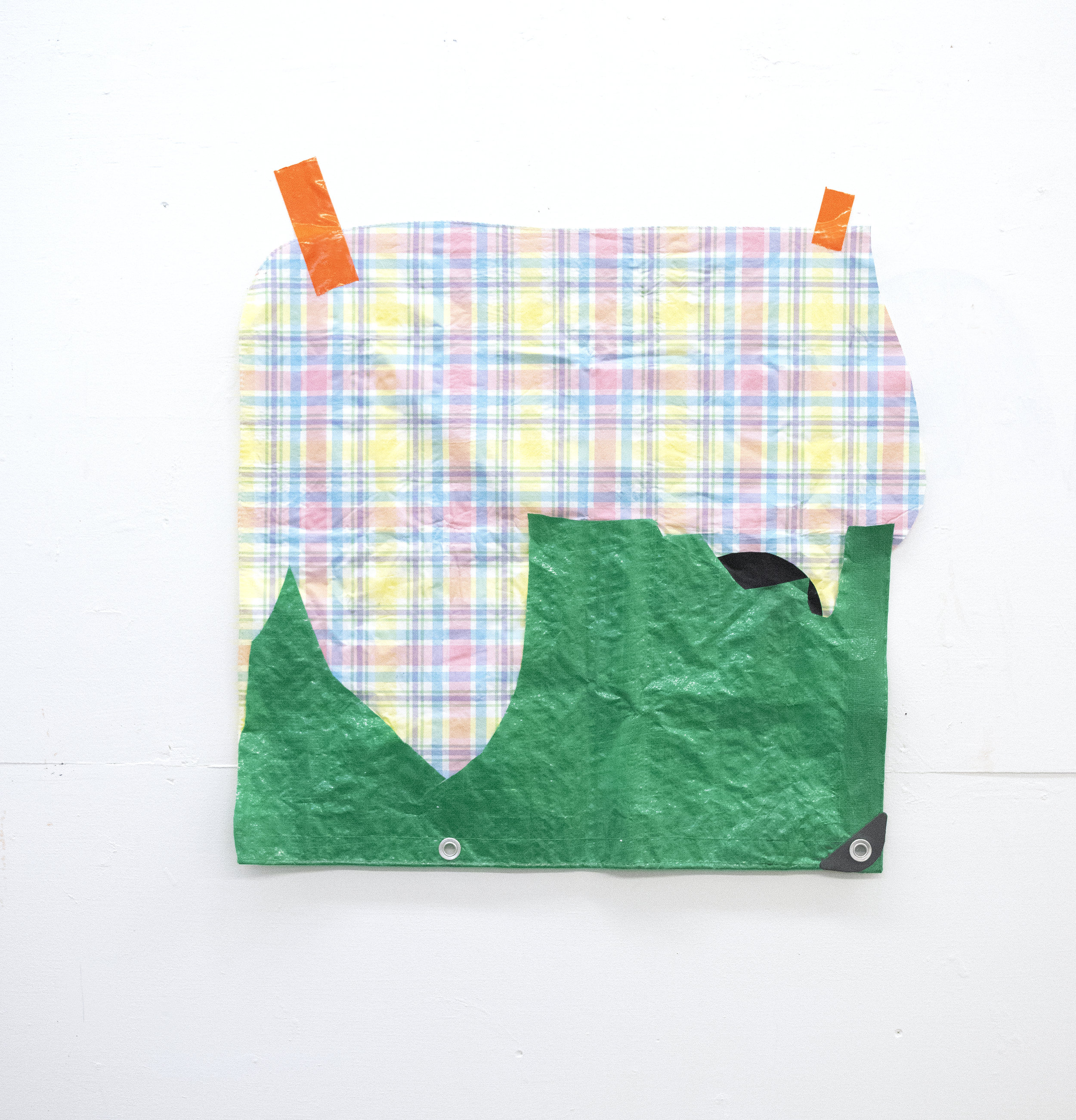 ground-cover  (2018). Picnic blanket, tarp, contact paper, duct tape. Image courtesy of the artist.