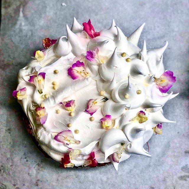 #Pie  Gingered apricot w strawberries + #meringue  freshly milled local corn crust 🍓🧡