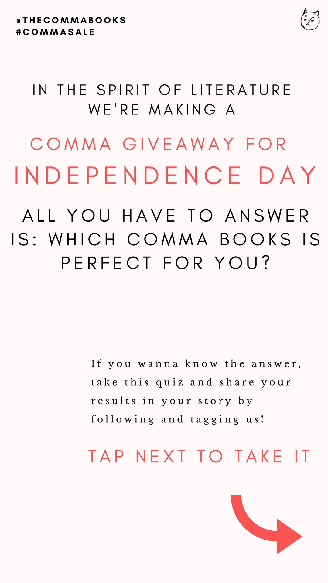 Take the quiz on our instagram (@thecommabooks)! - If you have posted your results, fill in the form to get two guest passes for the next Comma Books event by email.