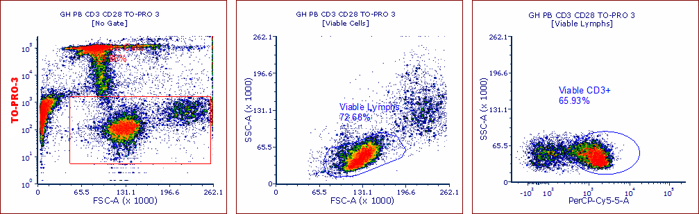 When a viability dye is added (in this case TO-PRO-3), it becomes apparent that one of these populations is made up of membrane compromised cells as the left population disappears when excluding cells based on dye uptake.  Furthermore, downstream gating shows that when the dead cells are excluded, the percentage of CD3+ cells drops markedly.  The viability dye has eliminated a significant proportion of false positive events.