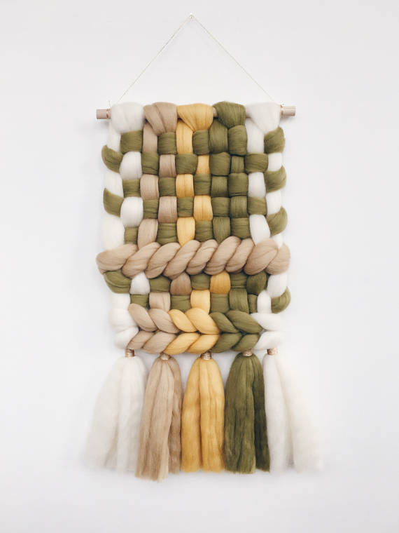 if you can't be bothered with tiny tassels, go big with a sumptuous weave from the lovely aliona of  IONA studio . she can create whatever designs and colours you like so you could even get more tassels than this {crazy!}.