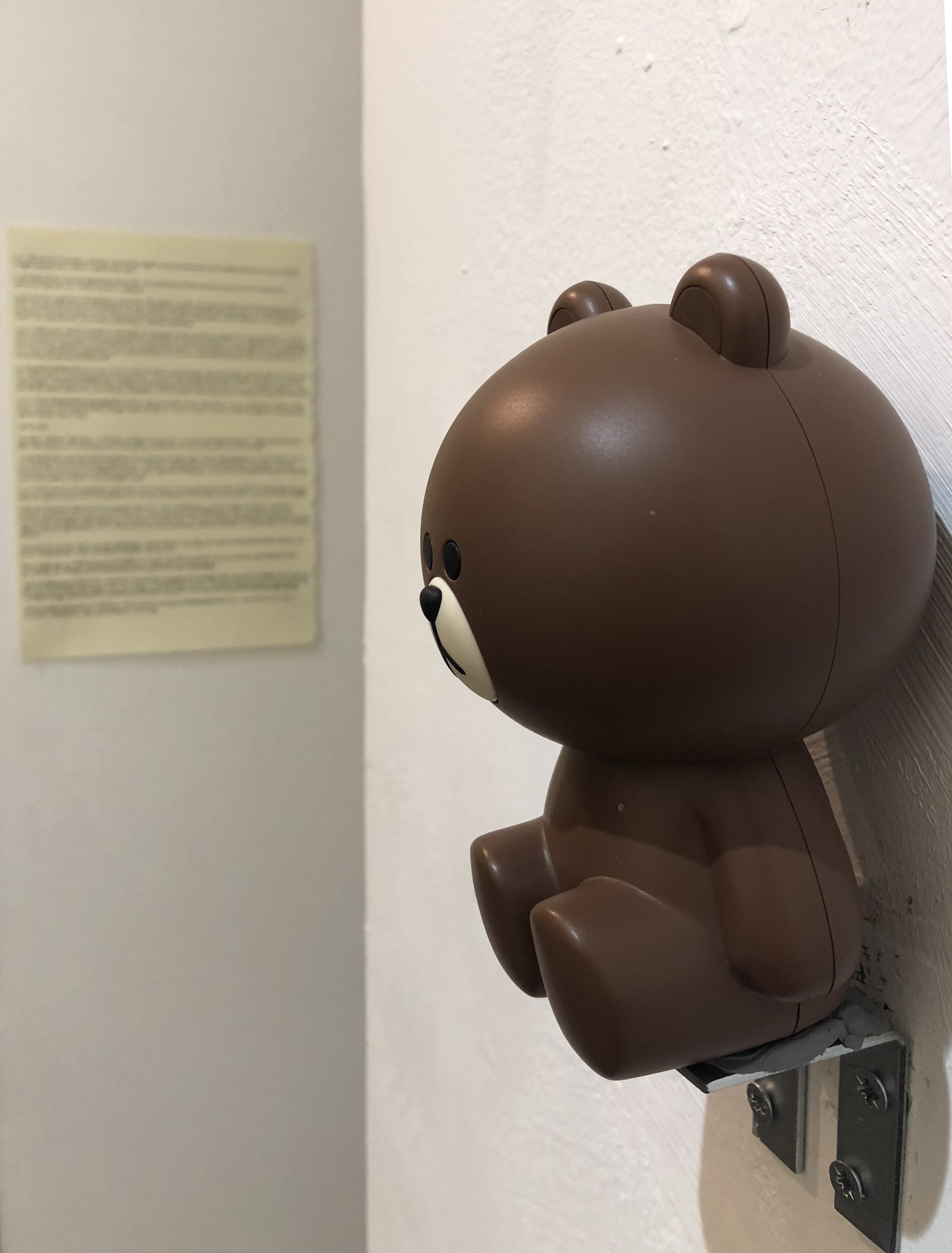 Korean toy bear speaker  Sound Installation + Handwritten Text on pullout notebook paper