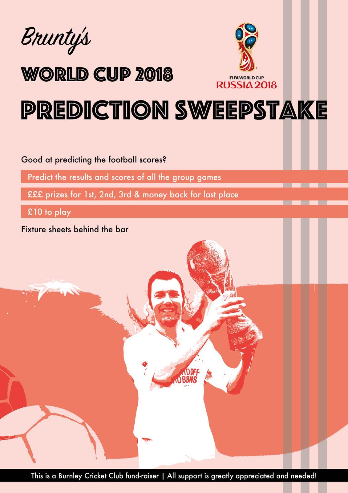 burnley cricket club world cup prediction sweepstake