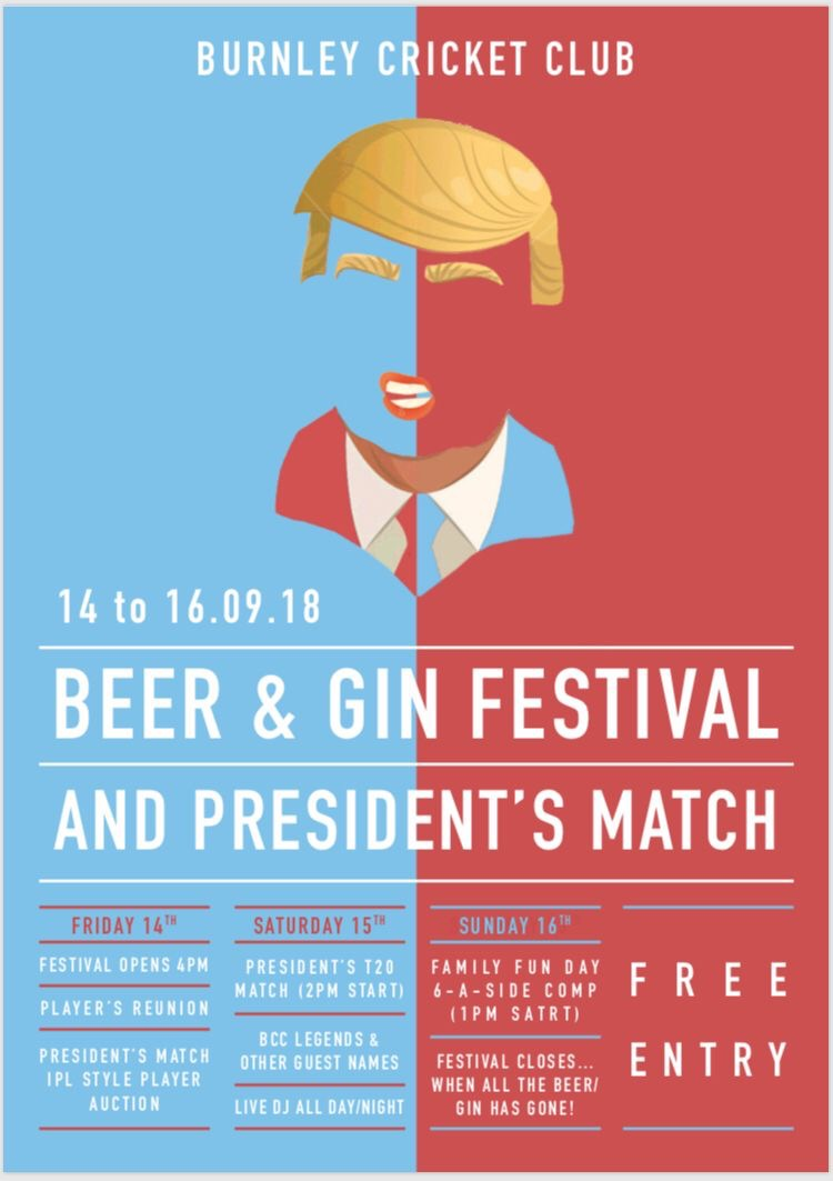 burnley cricket club president match beer and gin festival