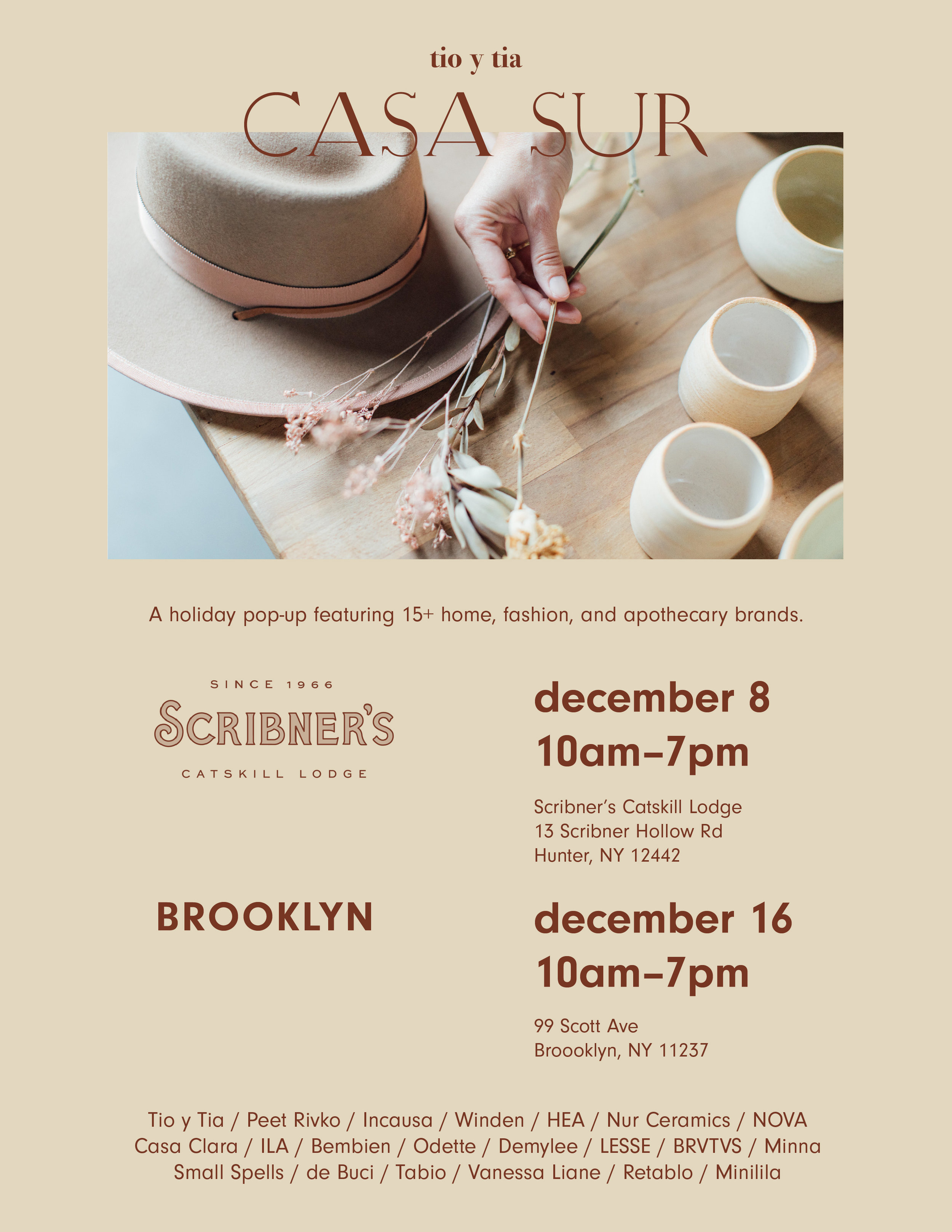 Shop a selection of our jewelry at two upcoming  Casa Sur  pop-up holiday events!:     Scribner's Lodge , Hunter, NY  Saturday December 8th in Hunter, NY  11-7pm     Fabr studio , Bushwick, Brooklyn  Sunday December 16th  11-7pm    Read more about Casa Sur's curated events on  Vogue.com.