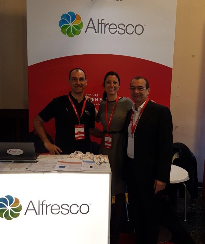 Me with Silvia Speranza (Alfresco) and Alberto Fidanza (Red Hat and formerly Alfresco)