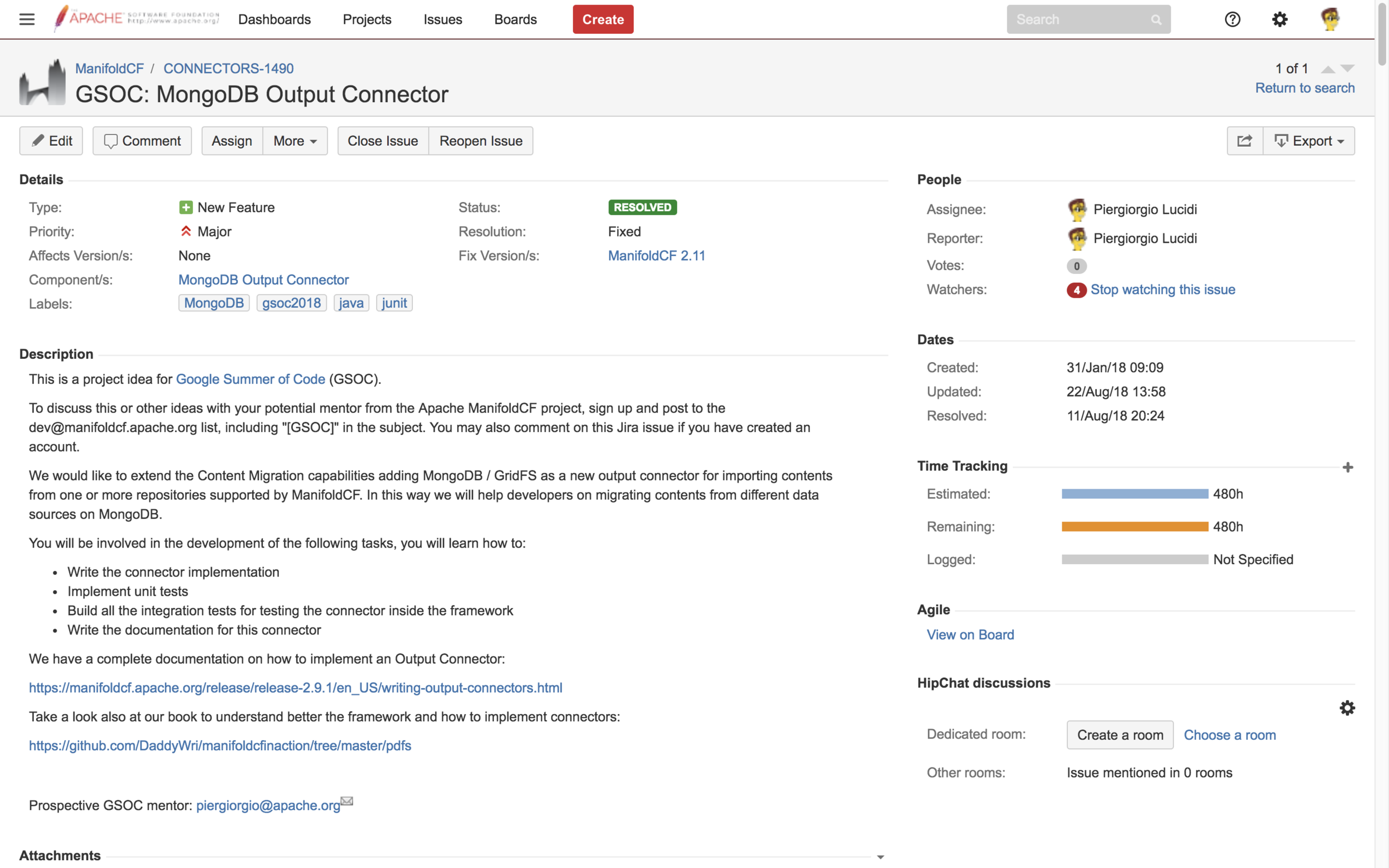 GSoC: MongoDB Output Connector - Apache JIRA Issue