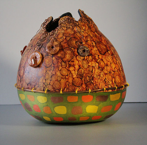 "Gourd of the Pueblo, Mixed Media,12""Hx11""W, $145"
