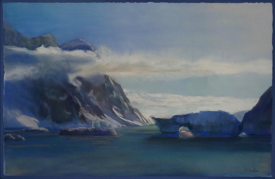 Antarctica Peninsula, Pastel, 12Hx18W, $1,000, Framed