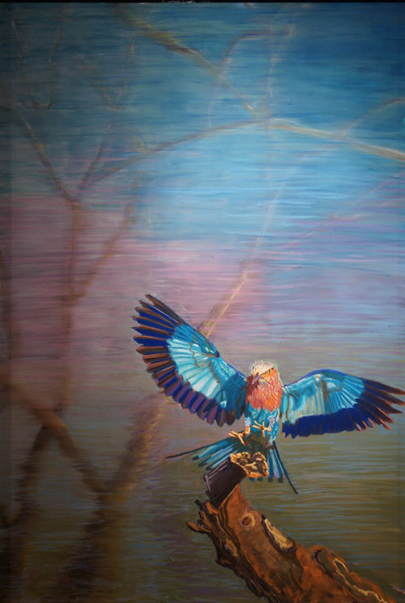 Tansania's Lilac Roller, Pastel, 35Hx24W, $777, Framed