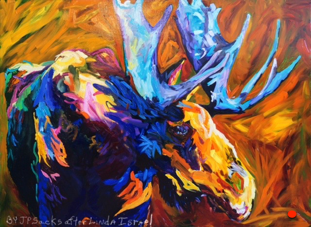Moose after Linda Isreal, Oil, 42Hx60W, DONATED