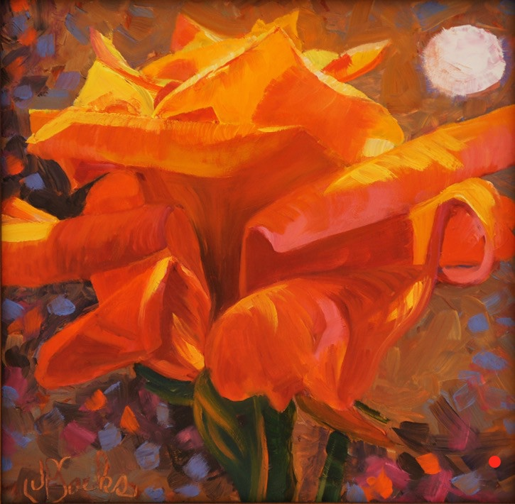 Orange Rose under Moonlight, Oil, 16.5Hx16.5W, SOLD