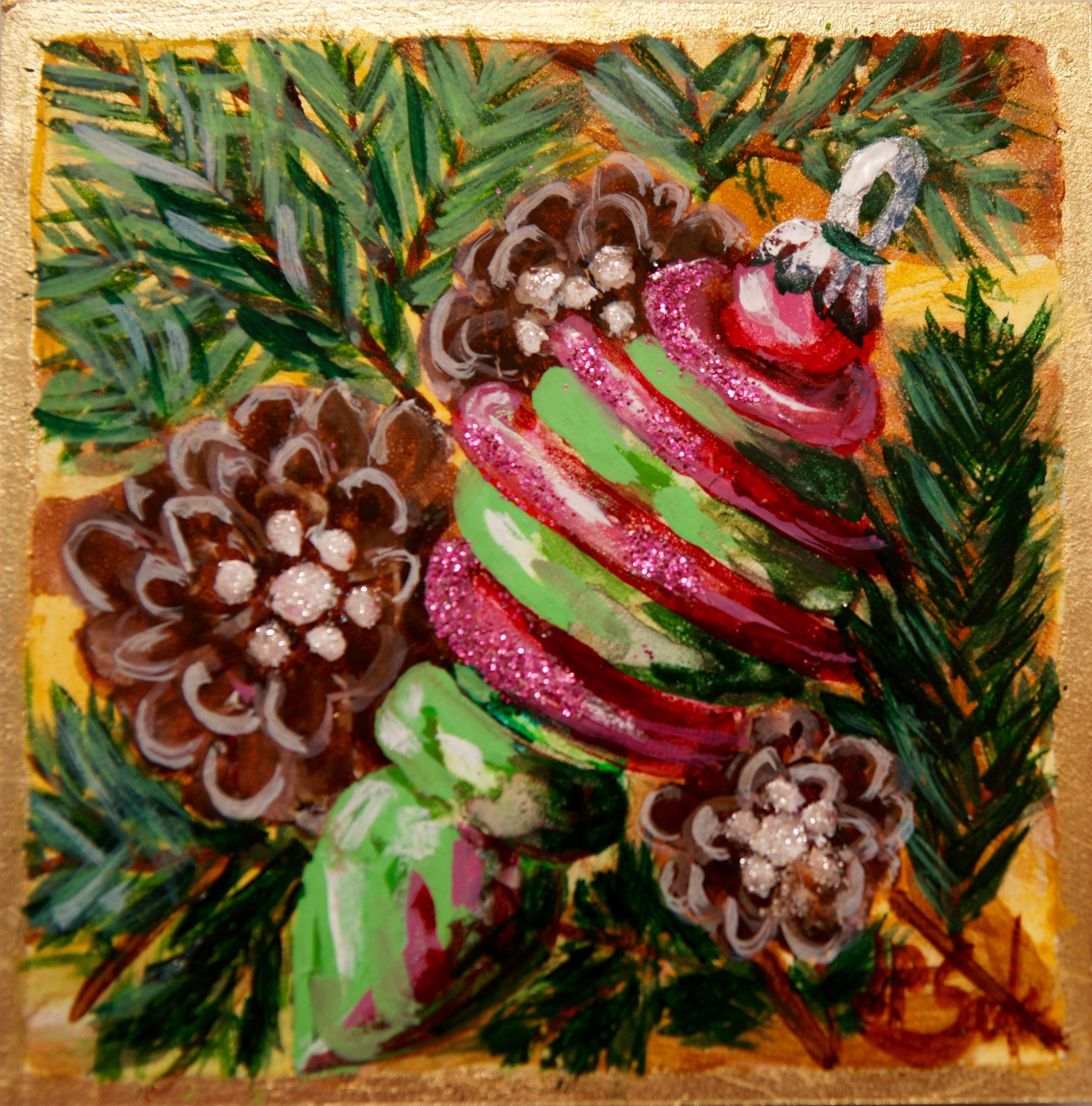 My Three Pine Cones, Watercolor & Gold Leaf, 5x5, $195