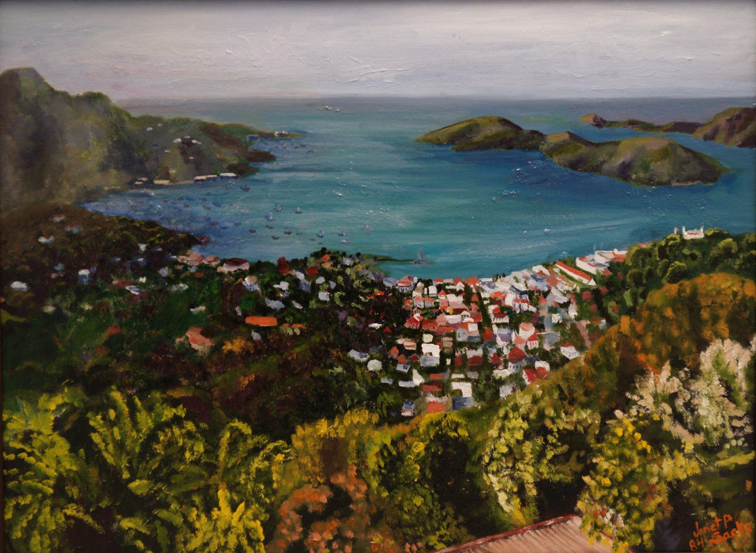Charlotte Amalie, St. Thomas, Oil, 12Hx16W, $255, Framed