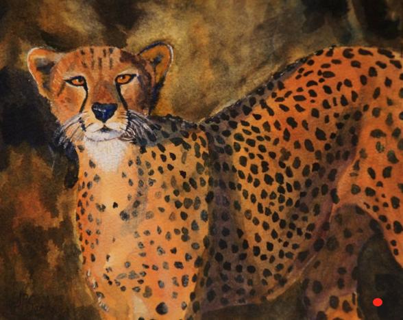 Greg's Mascot the Cheetah, Watercolor, 8Hx10W, SOLD