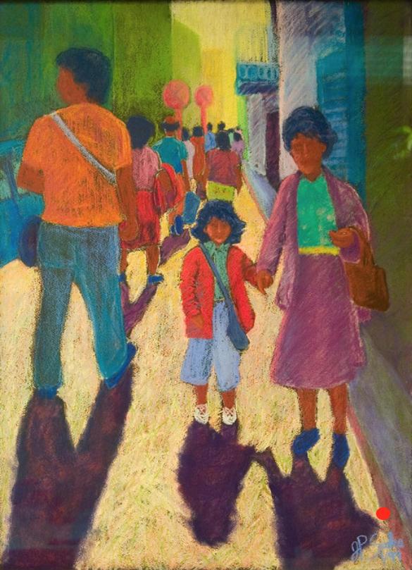 Walking in Naples, Pastel, 30Hx24W, SOLD
