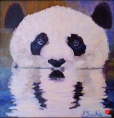 Panda Reflects, Oil, 12Hx12W, SOLD