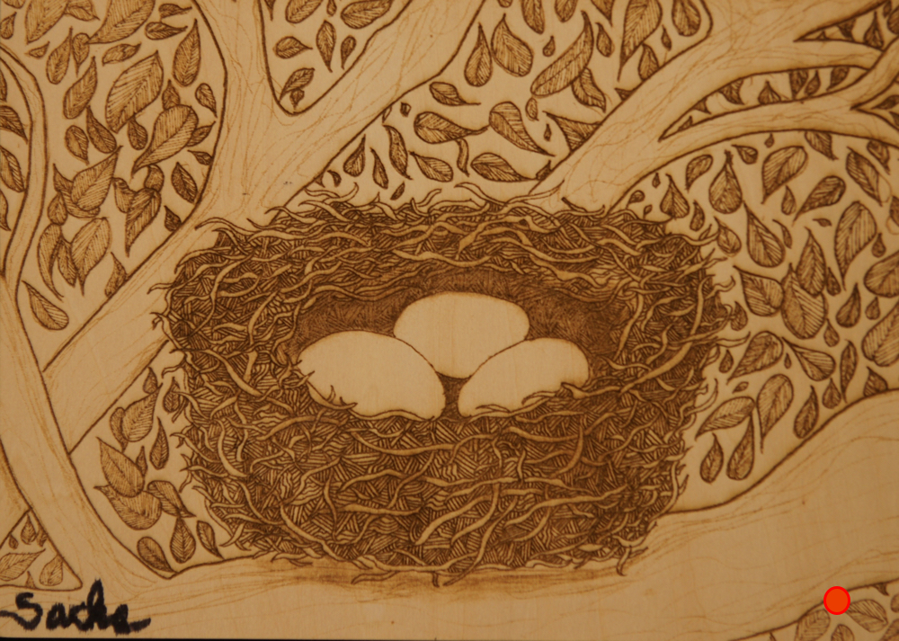 The Nest, Laser Wood Carving, 5x7, SOLD