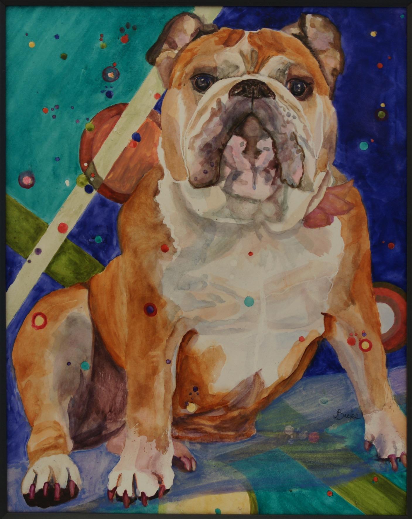 Bulldog Party Animal, Watercolor, 20Hx16W, $675, Framed