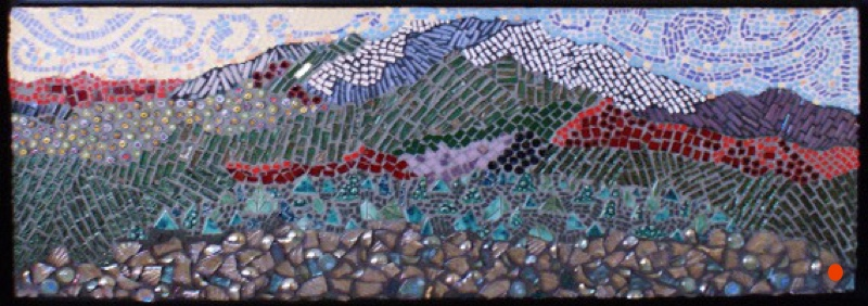 Upper Dyptych: Mountain Glory, Mosaic, 14Hx34W, SOLD