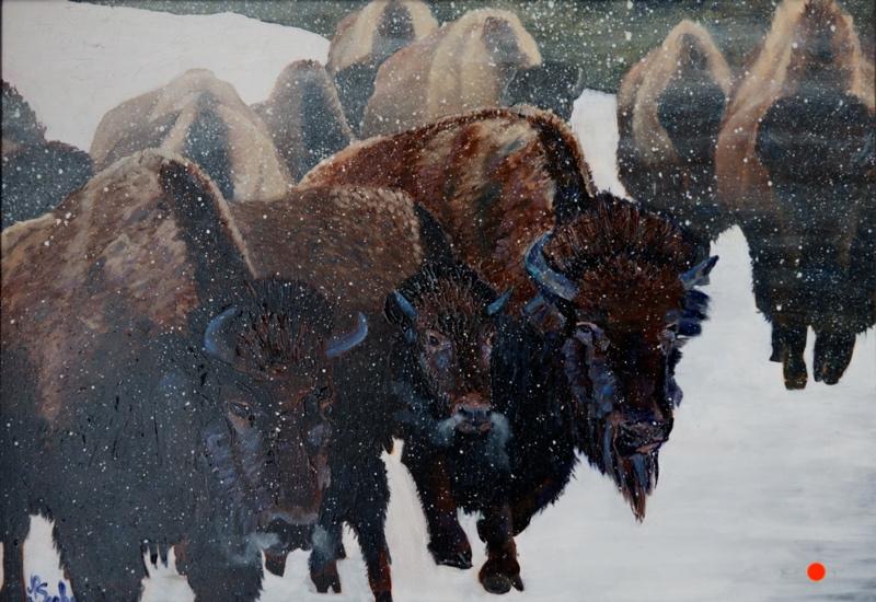 Yellowstone Herd In The Blizzard, Oil, 12Hx16W, SOLD