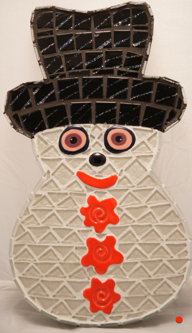 Buggy Eyed Snowman, Mosaic, 10Hx8W, SOLD