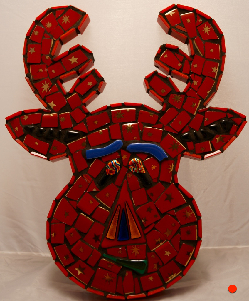 Red Reindeer, Mosaic,12Hx10W, SOLD