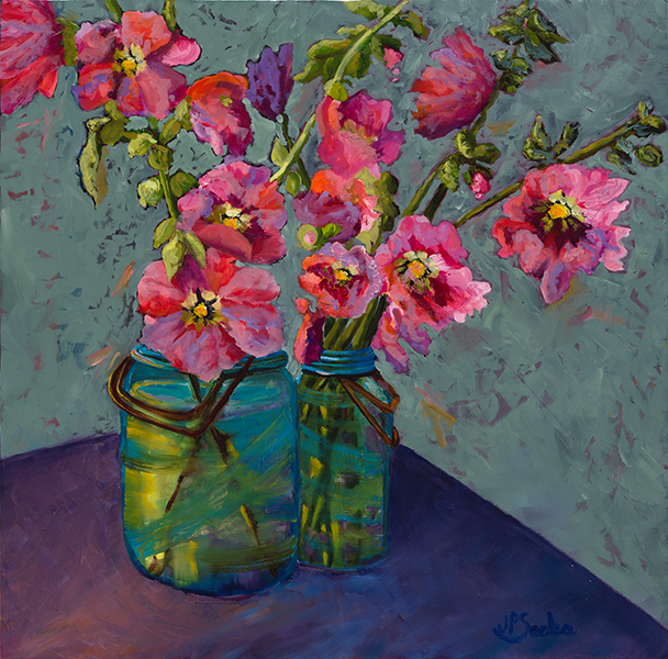 Pink Hollyhocks, Oil, 24Hx24W, NFS