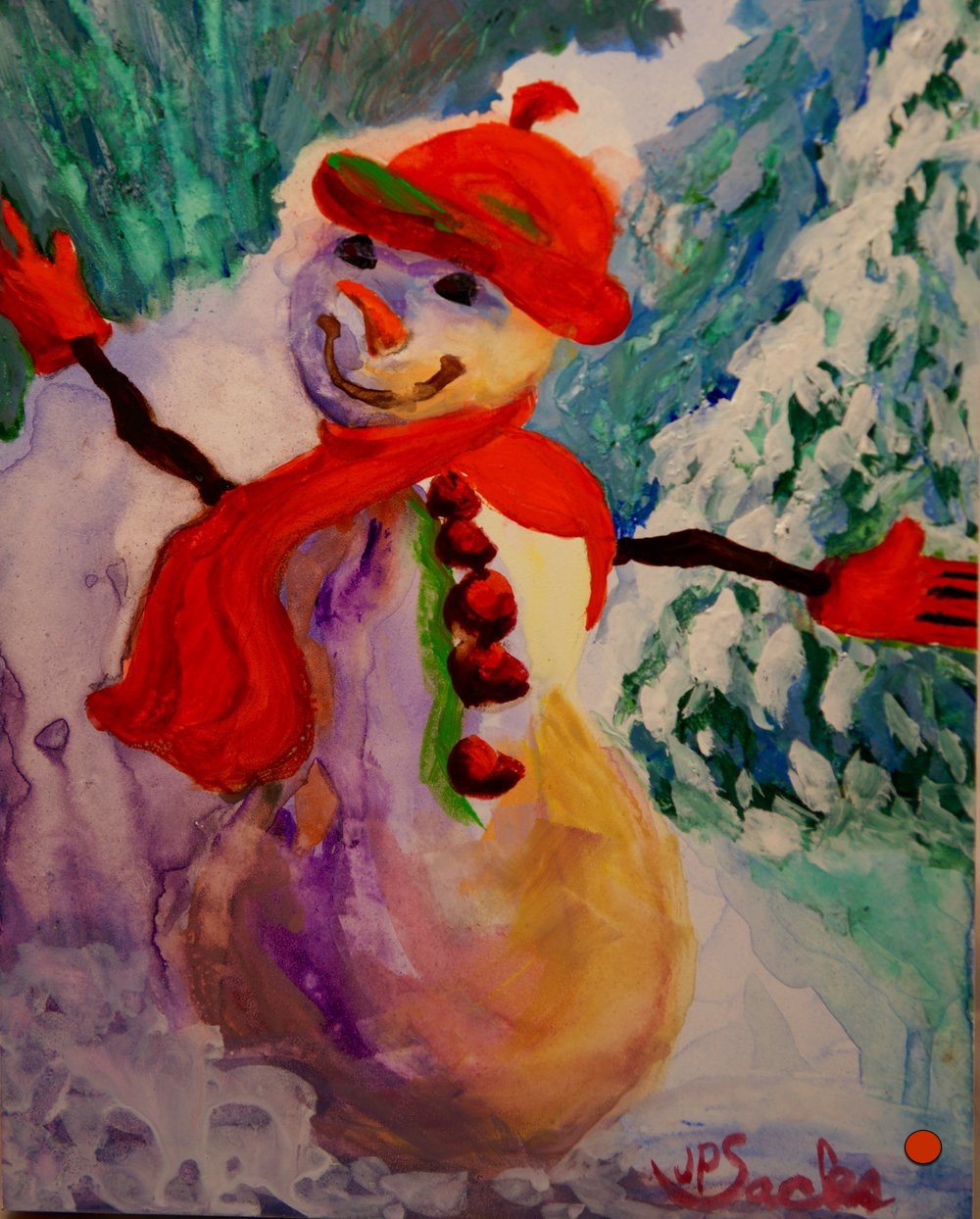 Frosty Riding the Avalanche Wave at Vail, Watercolor, 10x8, SOLD