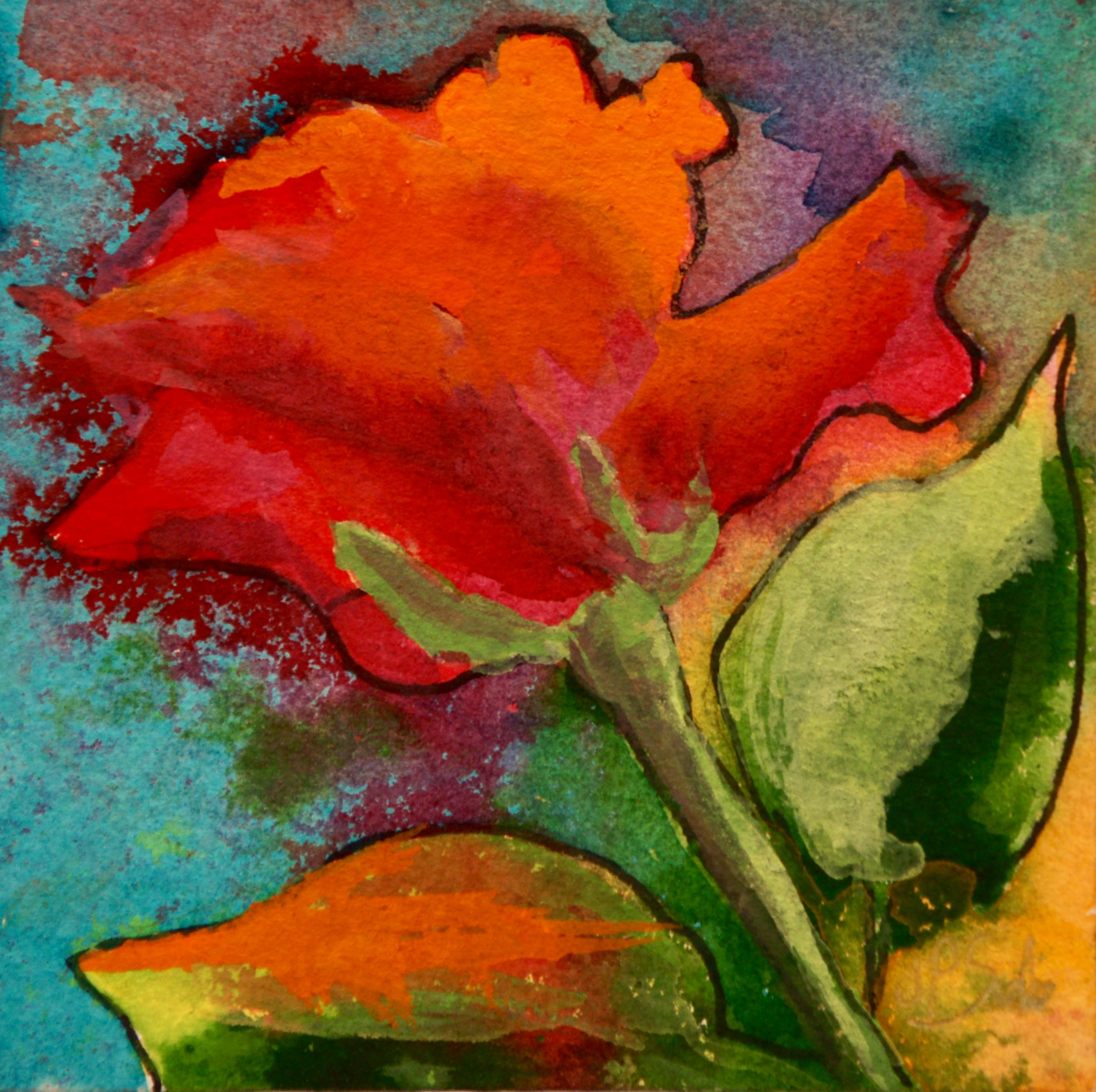 "Rose Glow, Watercolor, 5""x5"", $165, Framed"
