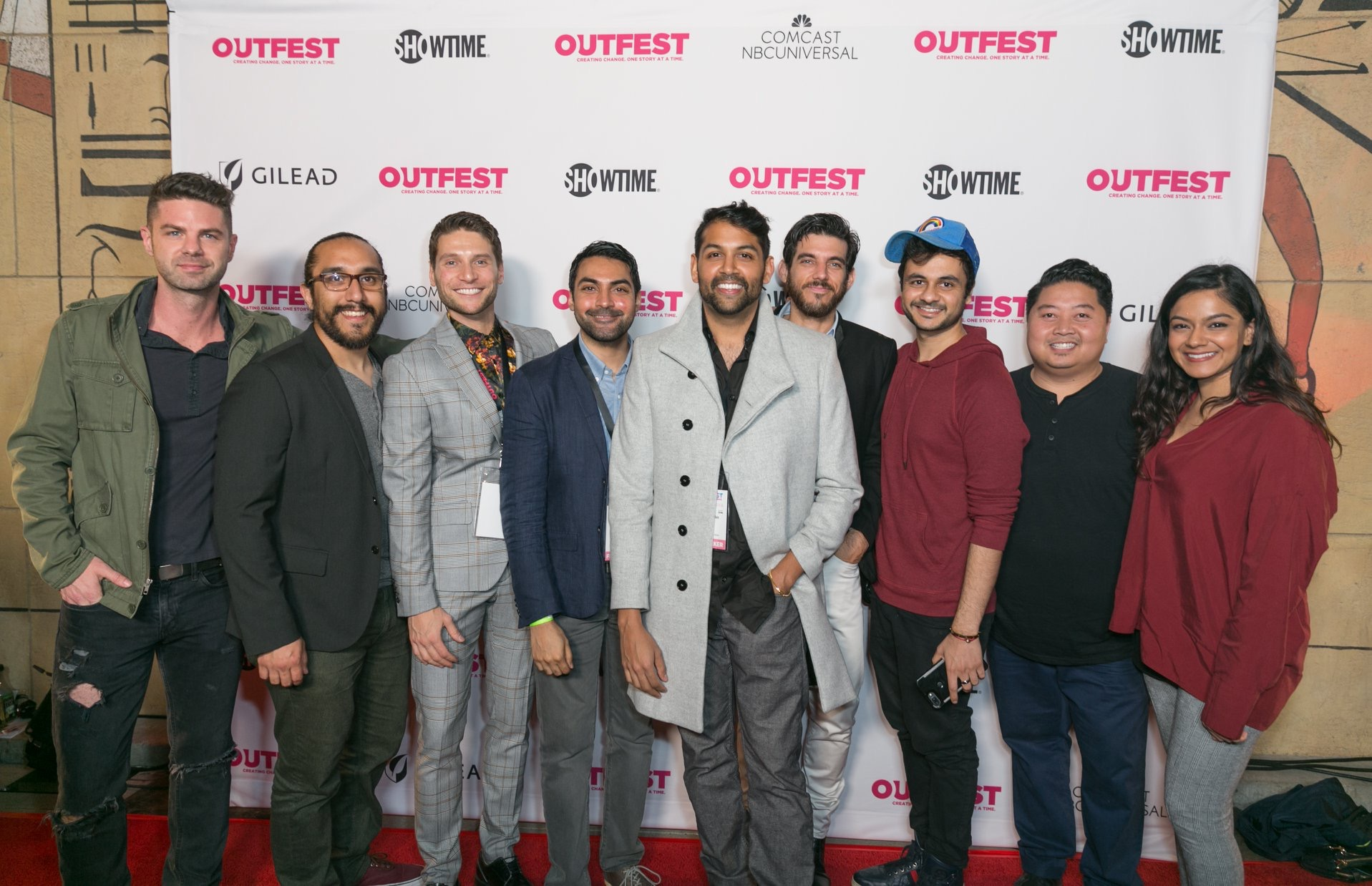 Left to Right Sterling Jones (actor), Ruben Contreras (Director of Photography), Alessandro Nori (Co-Producer), Faroukh Virani (Director), Shawn Parikh, Christopher Robleto-Harvey (Sound), Mayank Bhattar (Location Scout), Raashi (Composer)