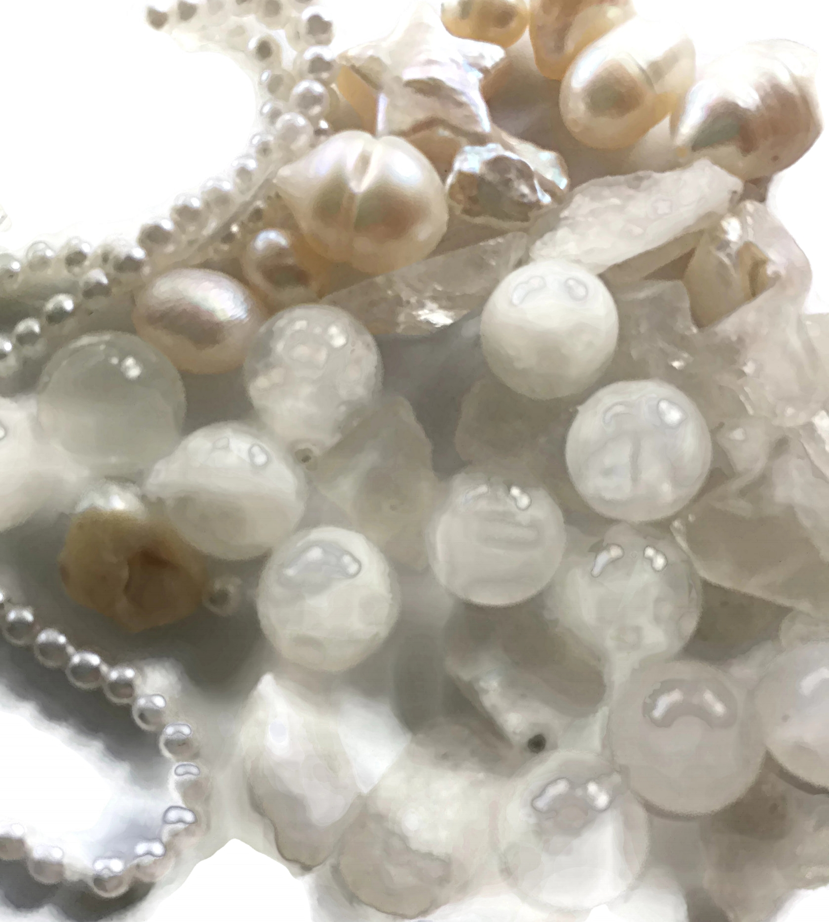 the Moon's gems increase purity + promote faith + charity + integrity + helps with the female reproductive - Gems: Pearl, Cultured Pearls, Moonstone, Selenite